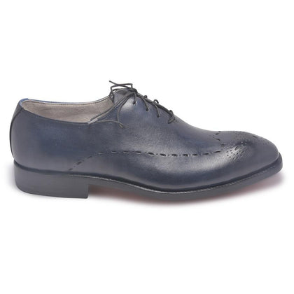 Men Brogue Dark Blue Leather Shoes
