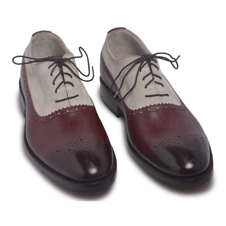 Men Two Tone Red Brogue Leather Shoes with Suede Quarter