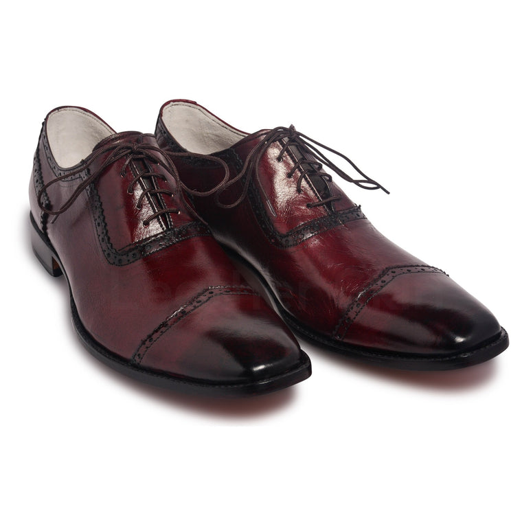 Men Two Tone Red Oxford Glossy Genuine Leather Shoes