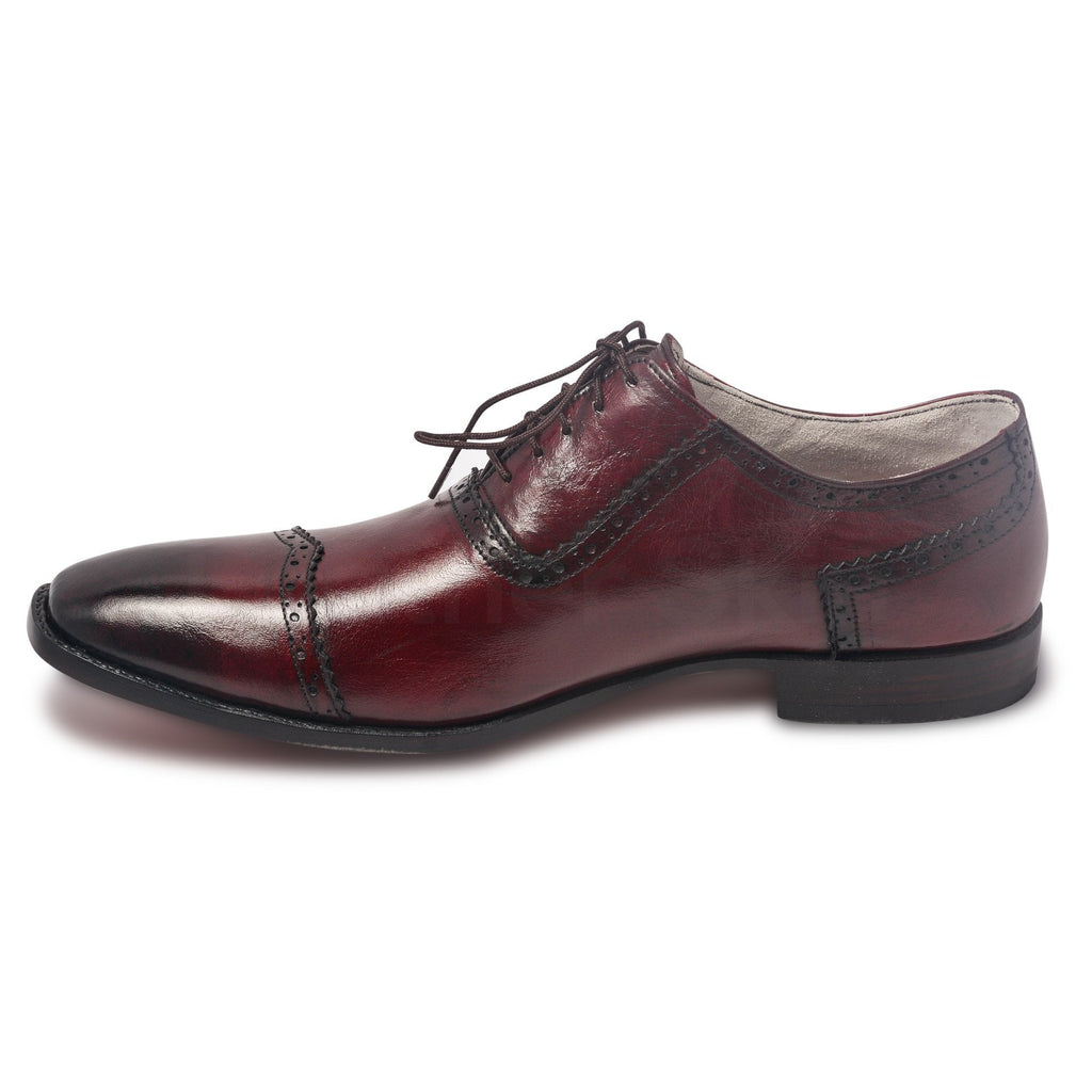 cap toe mens red oxford