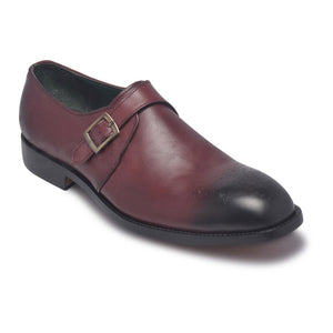 Two Tone mens leather shoes monk strap