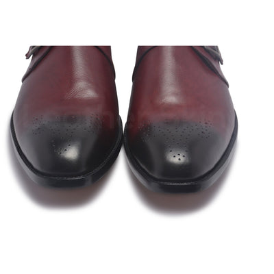 black toe for red leather shoes mens