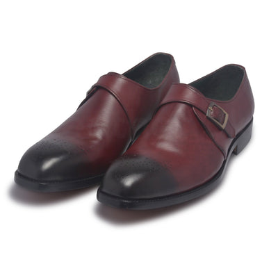 monk strap genuine leather shoes for men
