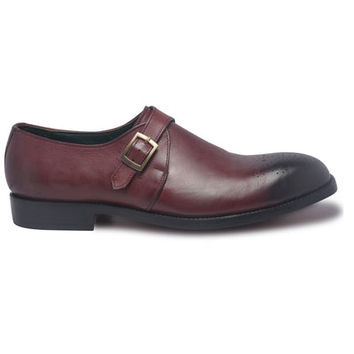mens two tone shoes with single monk strap