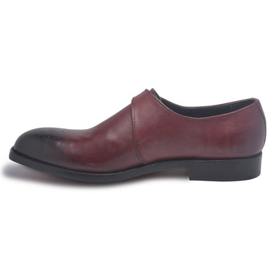 two tone leather shoes for men in red color