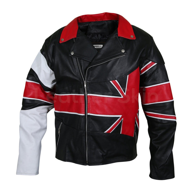 Men UK Union Flag Brando Genuine Leather Jacket