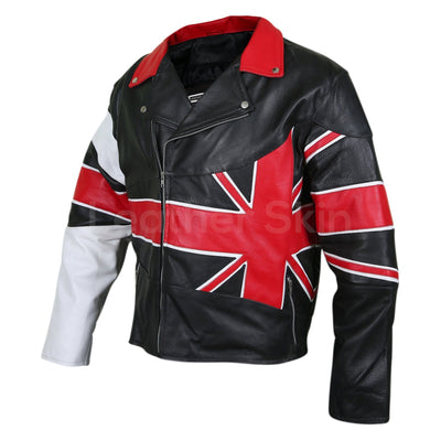 Union flag genuine leather jacket mens
