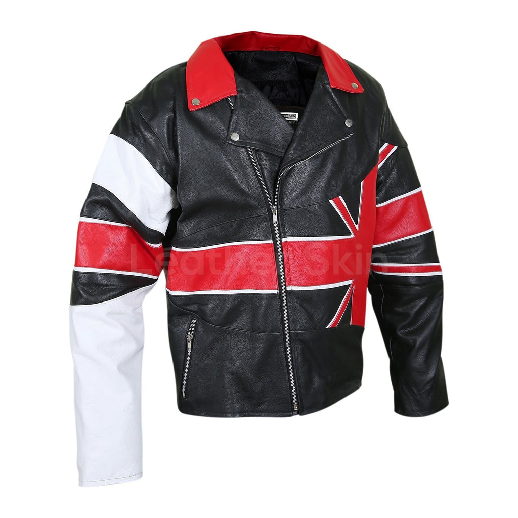 red black white Britain leather jacket mens