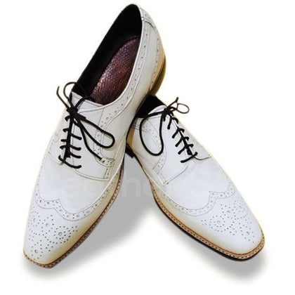 white brogue leather shoes for men