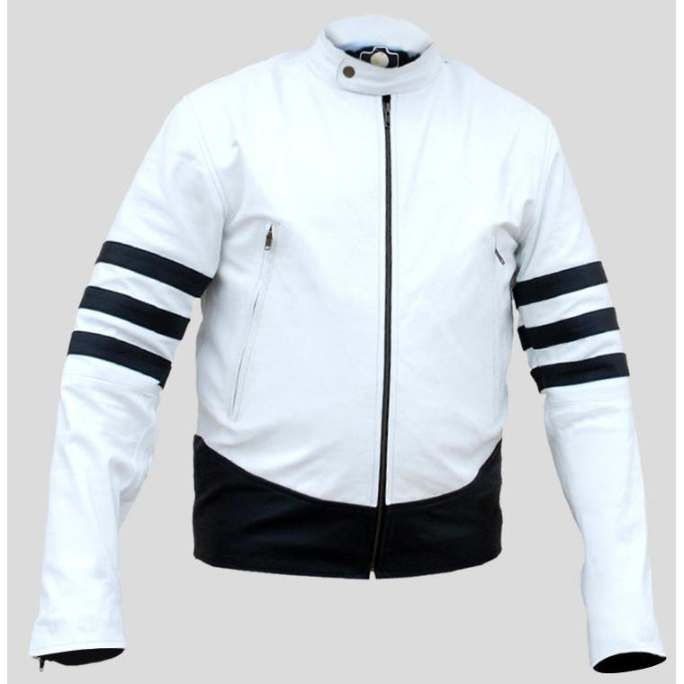 NWT White Men with Black  Patches Genuine Leather Jacket