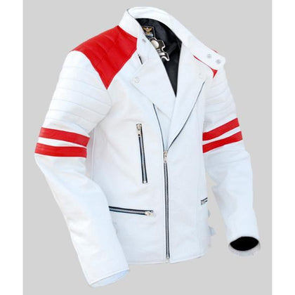 Men White Real Leather Jacket with Red Stripes