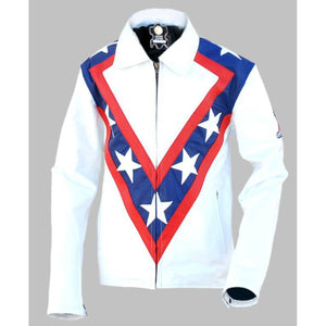 NWT White Men with Star Stripes On Front & Back Genuine Leather Jacket