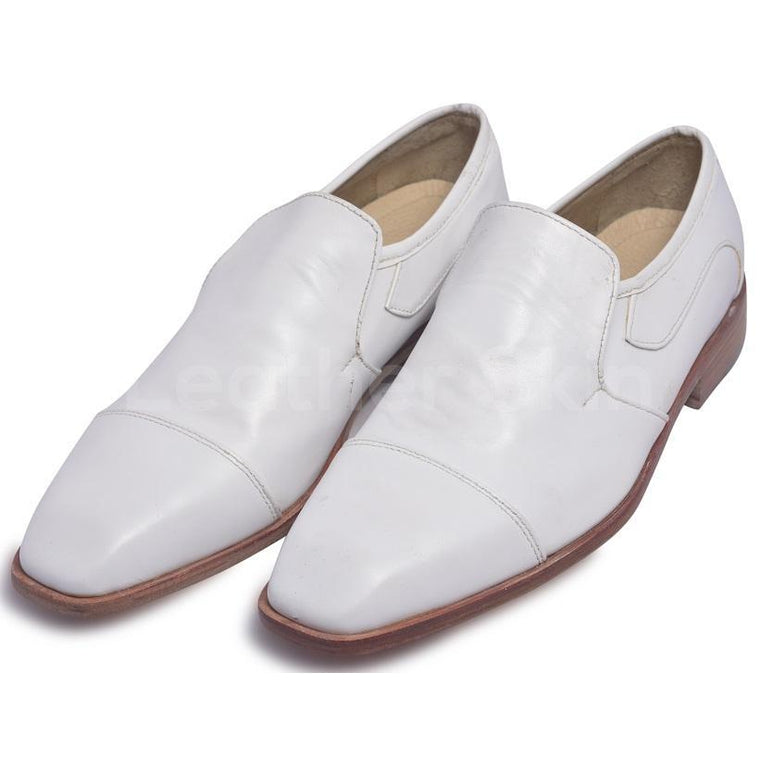 Men White Slip-On Genuine Leather Shoes with Capped Toe