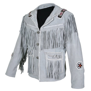 Men White Western Style Fringes Cowboy Suede Leather Jacket