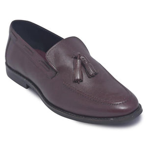 Men Wine Red Slip-On Loafer Shoes with Tassels