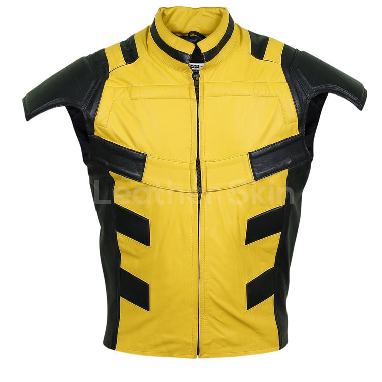 Men Yellow Leather Vest with Shoulder Support