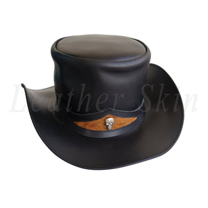 Men Handmade Black Genuine Aussie Leather Top Hat with Skeleton
