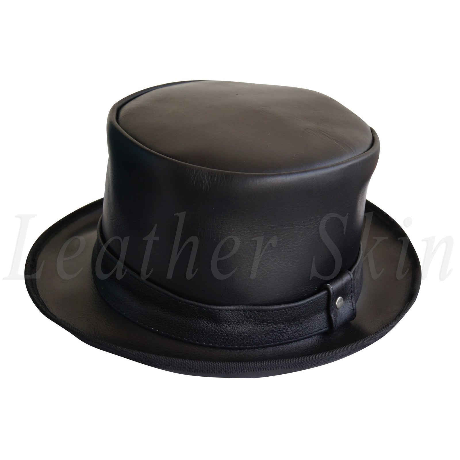 Black Vintage Style Leather Hat English Men's and Women's Jazz Ska