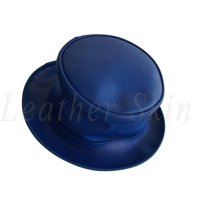 Blue Vintage Style Leather Hat English Men's and Women's Jazz Ska