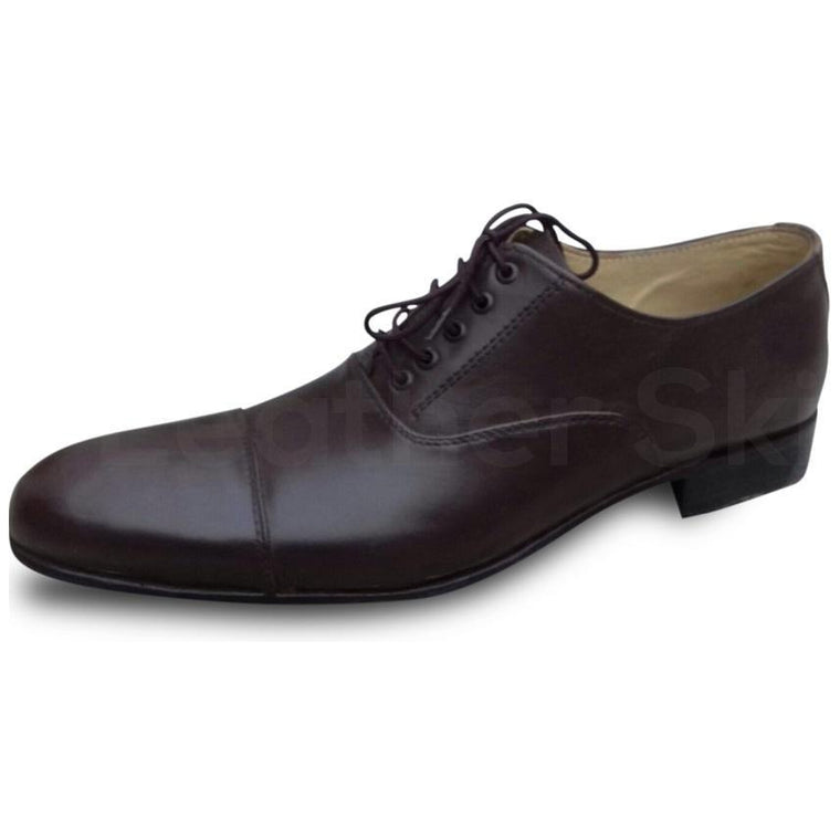 Men Black Oxford Classic Leather Shoes with Cap Toe