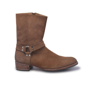 Brown Biker Leather Boots