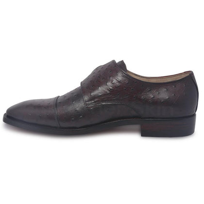 monk strap leather shoes for men