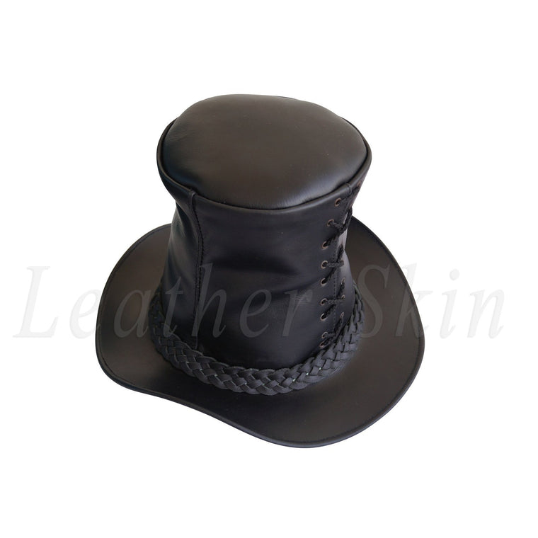 Men Genuine Black Leather Top Hat Steam Punk Gothic Corset Corsage