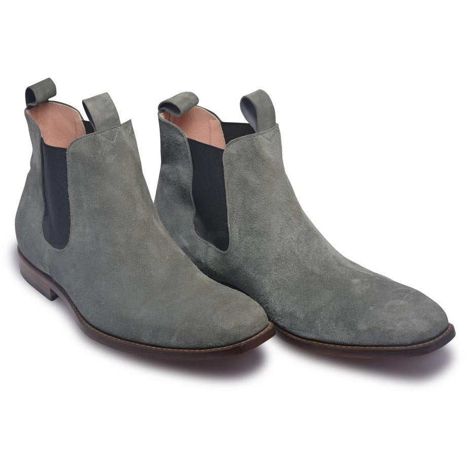 Men Gray Chelsea Suede Leather Boots