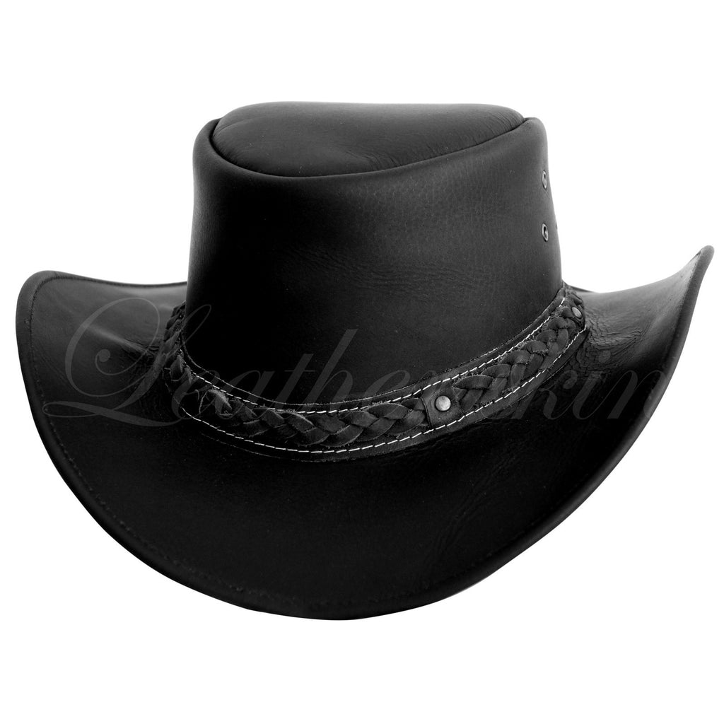 Men Handmade Black Hat Aussie Bush Cowboy Western Outback Leather Hat