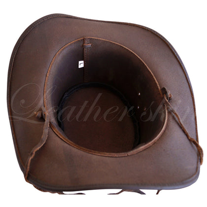 Men Handmade Dark Brown Hat Aussie Bush Cowboy Western Outback Leather Hat