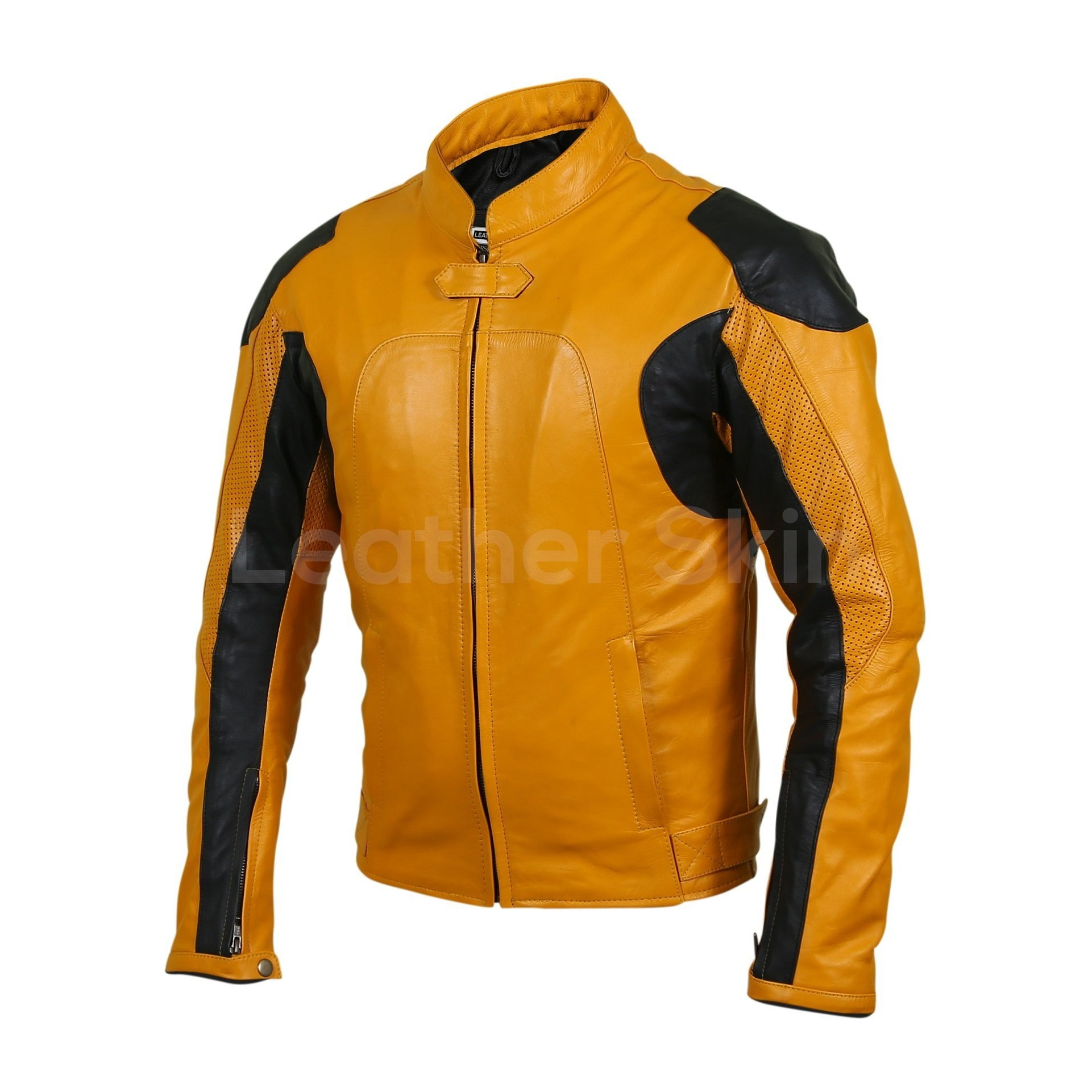 mens yellow leather jacket biker motorcycle