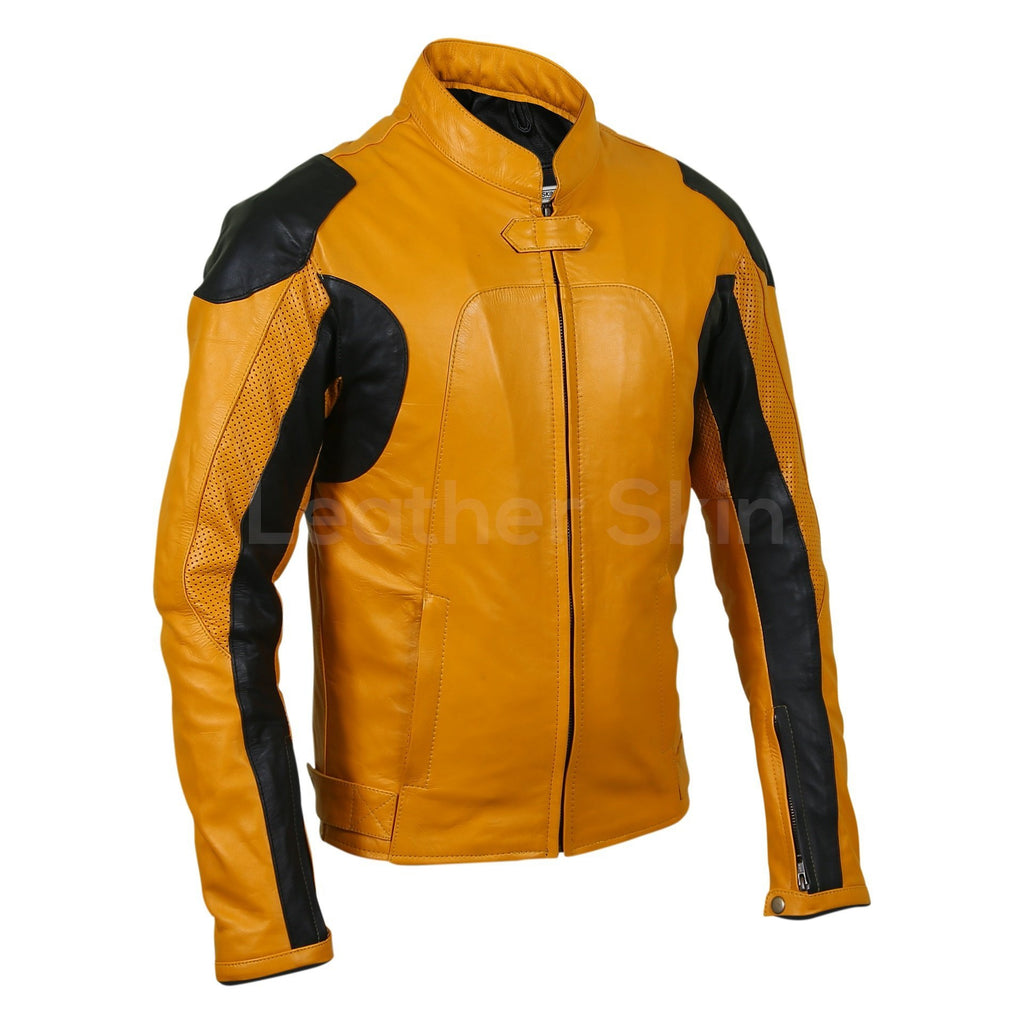yellow motorcycle leather jacket mens