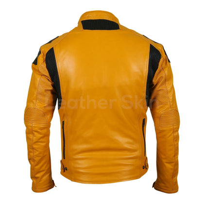 Men Yellow Biker Motorcycle Leather Jacket with Perforations