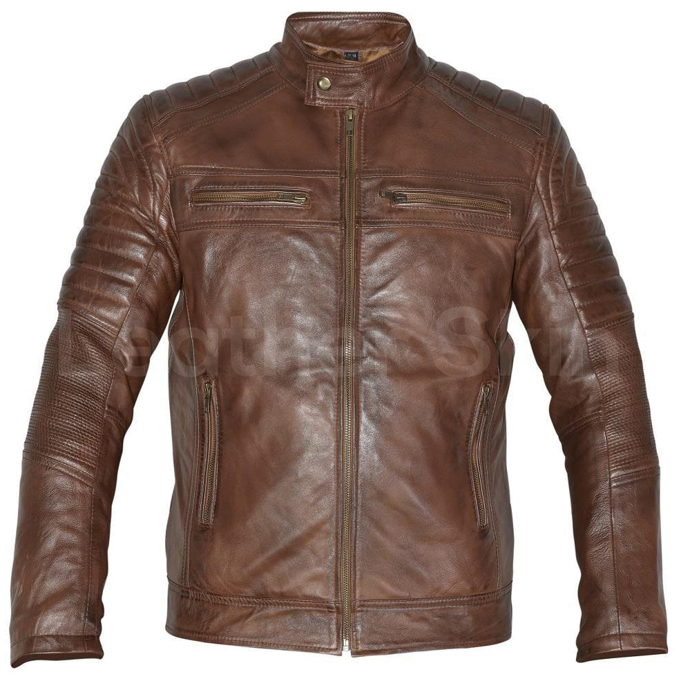 Mens Biker Vintage Motorcycle Cafe Racer Distressed Brown Real Leather Jacket