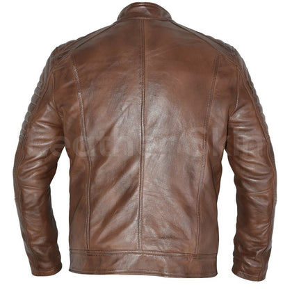 distressed cafe racer leather jacket