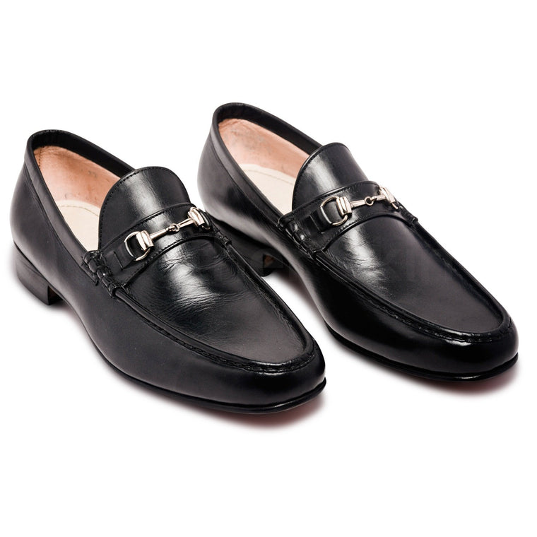 Mens Black Bit Loafers Shoes with Gold Metal Decoration