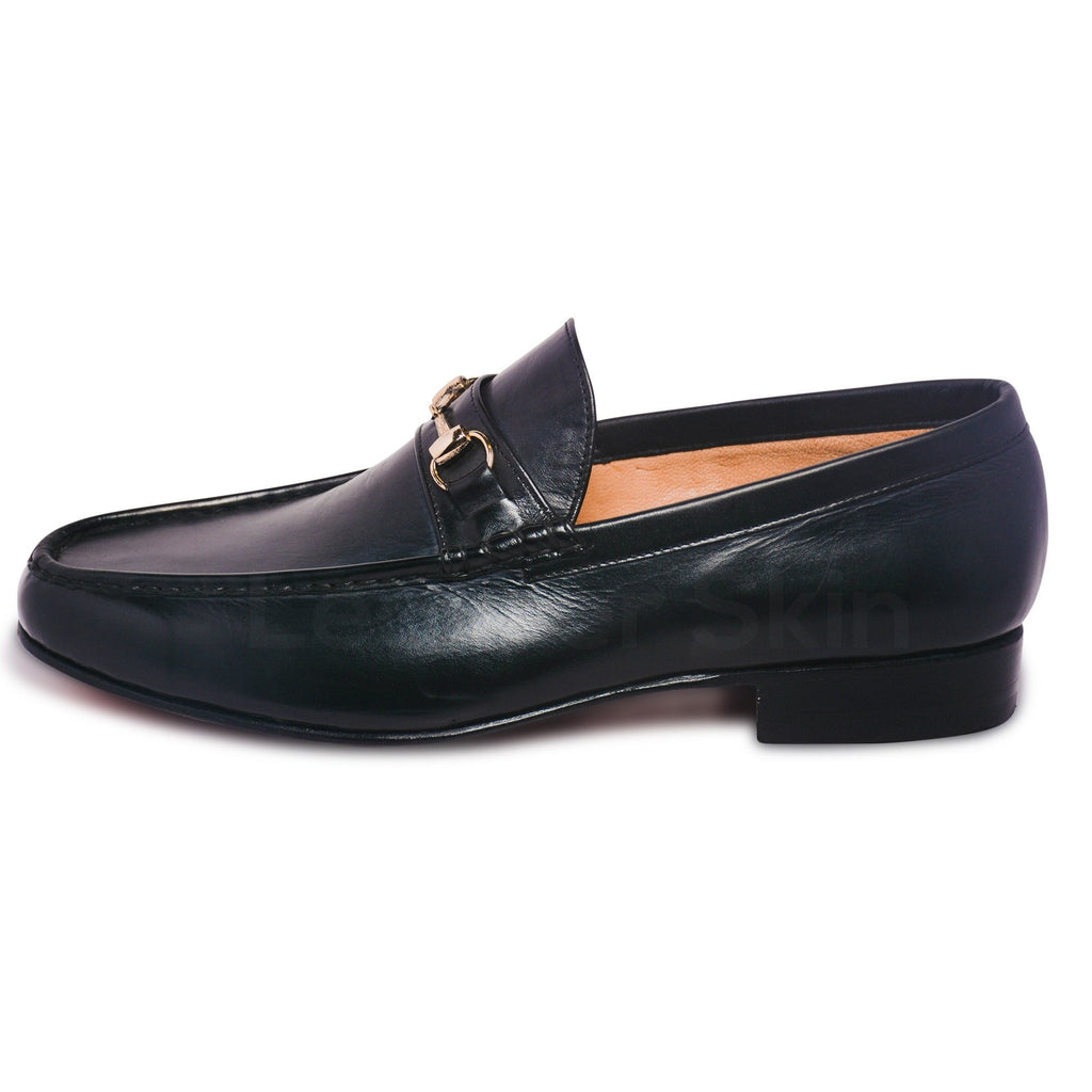 black men loafer shoes with gold color metal