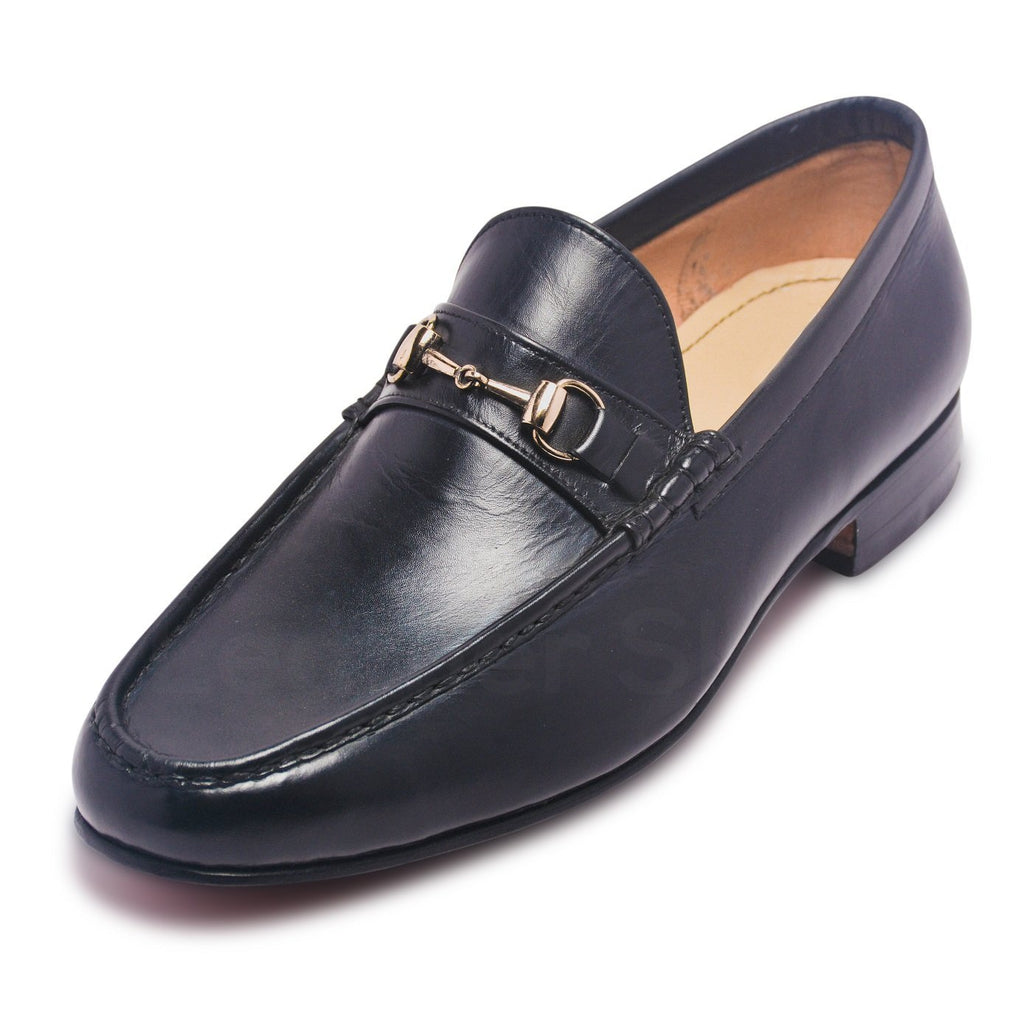 mens black genuine leather shoes with gold tassels