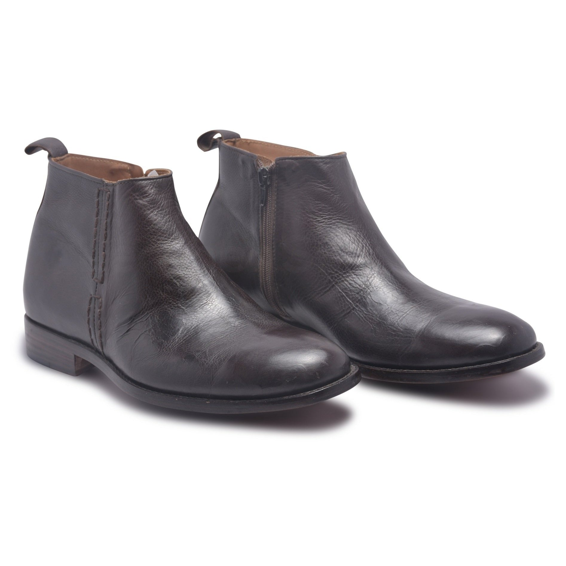 mens black leather zip up boots