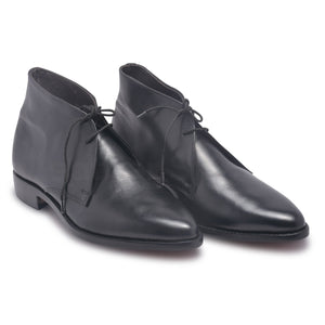 Mens Black Chukka Leather Boots with laces