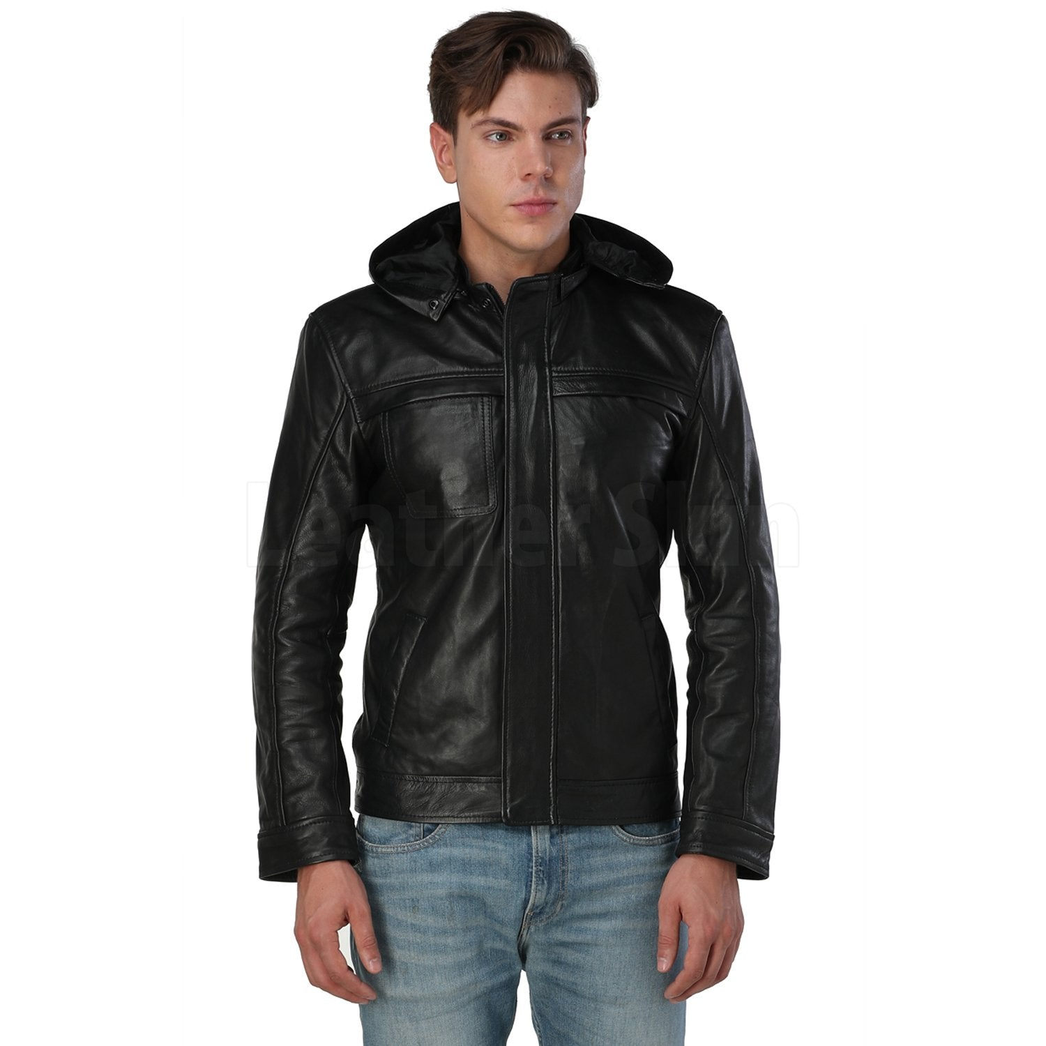Men's Black Hooded Leather Jacket