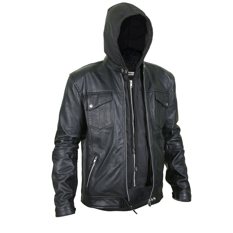 Men's Black Leather Jacket with Hoodie