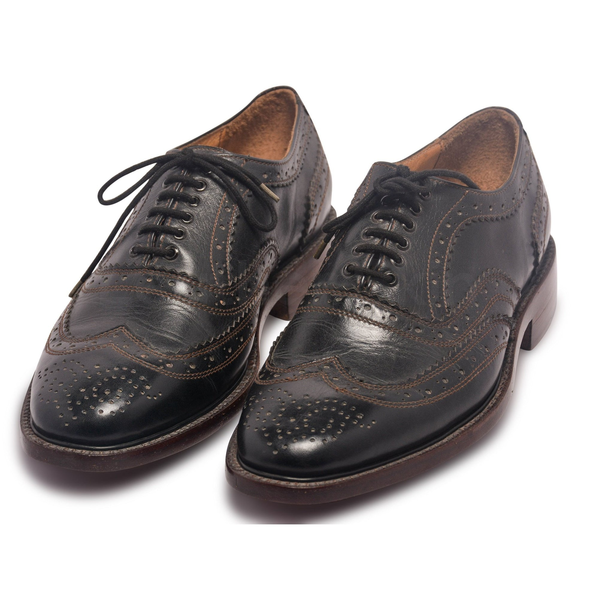 Mens Black Oxford Wingtip Brogue Shoes with Brown stitching