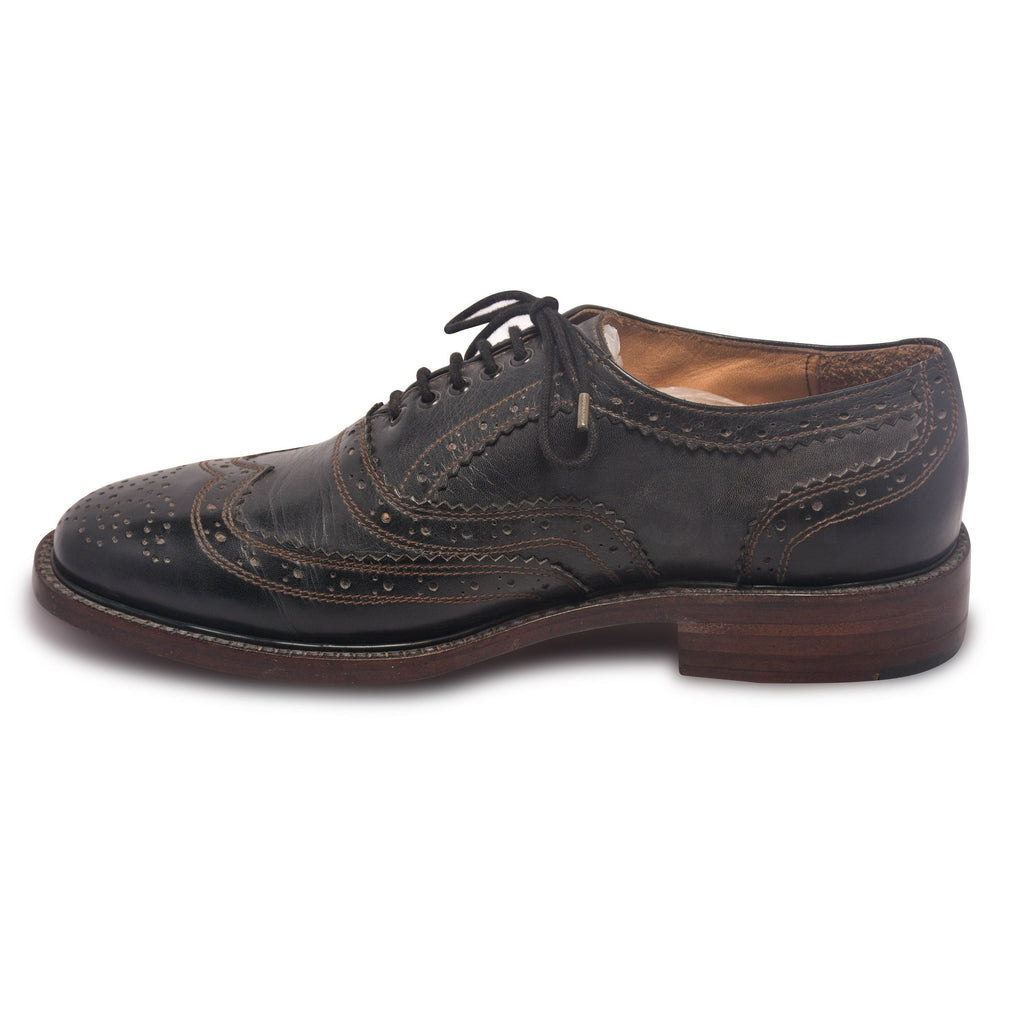 mens black leather shoes brogue