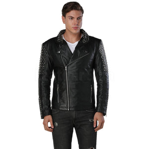 Men's Black Spike Leather Jacket