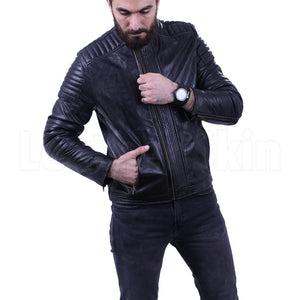 Men's Black leather jacket with antique zippers