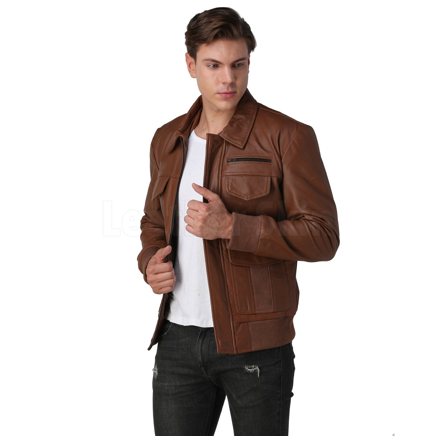 Men's Brown Bomber Leather Jacket