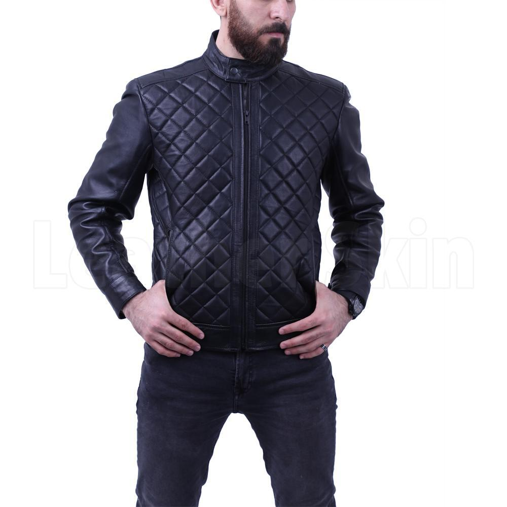 Men's Diamond Quilted Genuine Leather Jacket