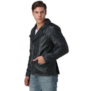 Men's Navy Blue Leather Blazer