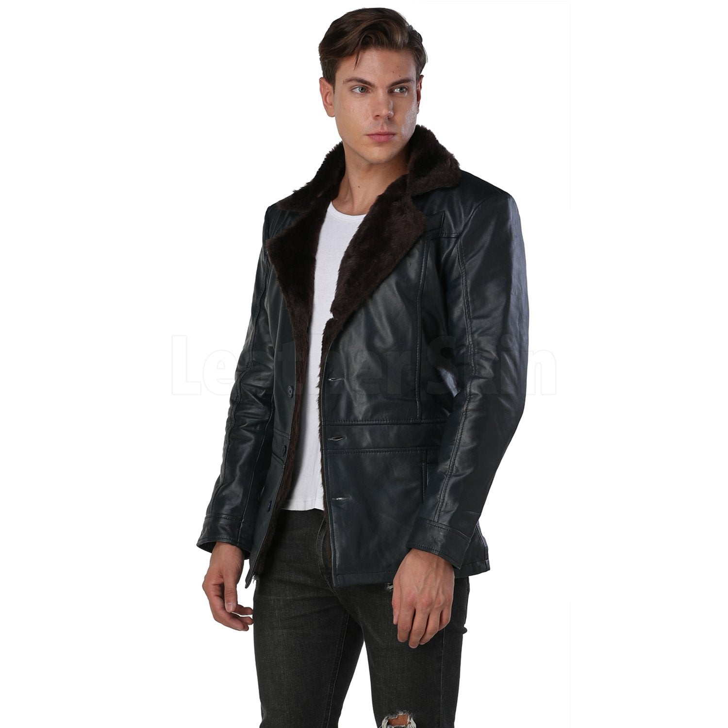 Men's Navy Blue Leather Coat